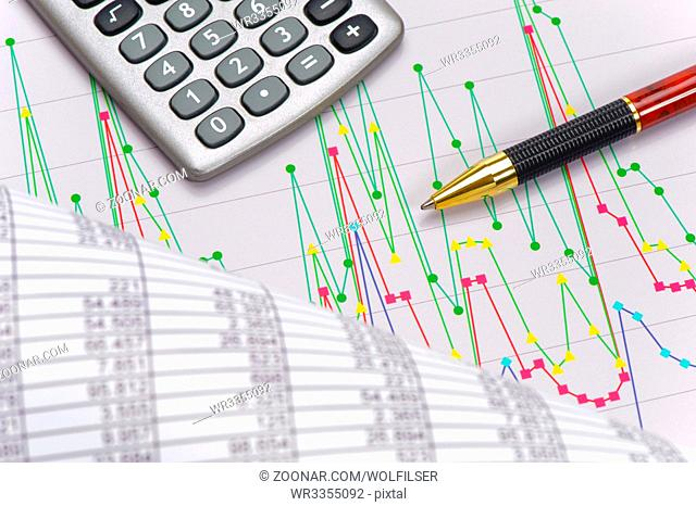 finance and business with chart and data of stock market