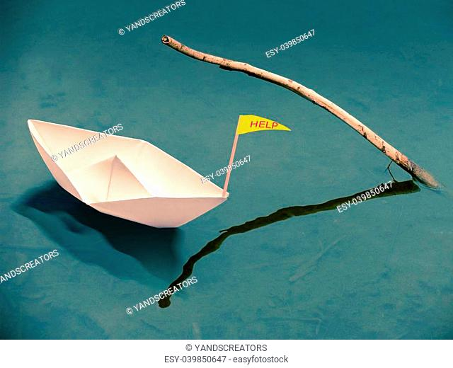 Paper Boat, Stop Global Warming Message, Concept