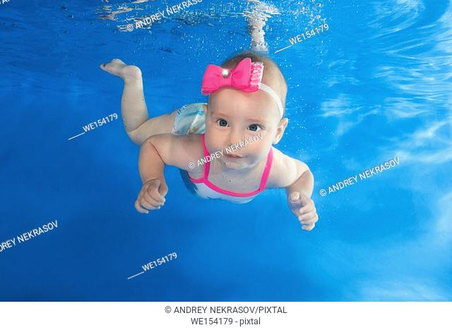 Little girl in a dress floating under water in a pool