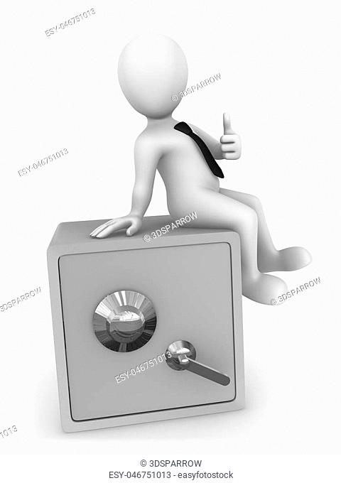 3d businessman sit? on bank safe and shows thumss up