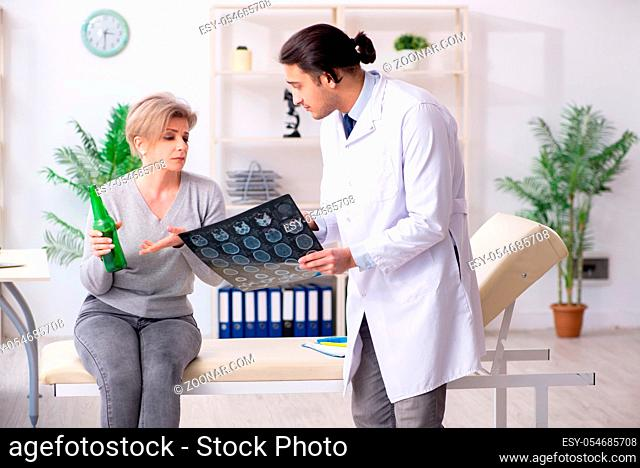 The female alcoholic visiting young male doctor