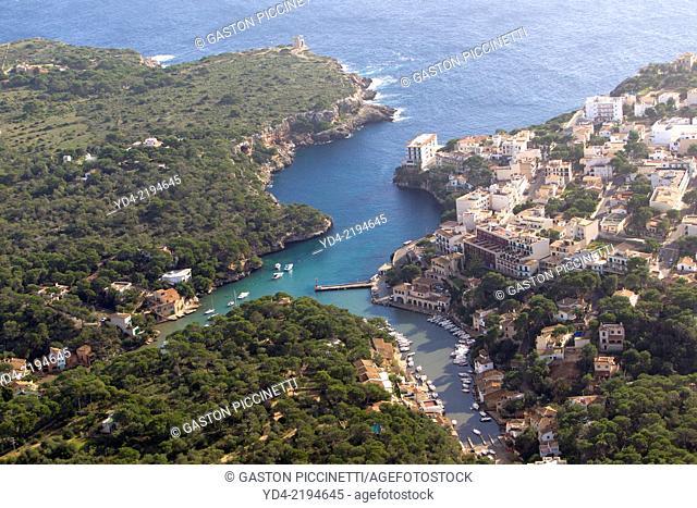 Aerial view of Cala Figuera, Mallorca, Balearic Island,Spain