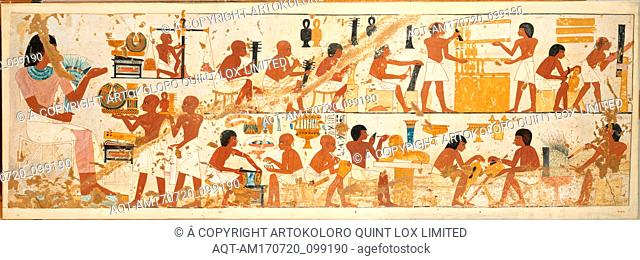 Craftsmen, Tomb of Nebamun and Ipuky, New Kingdom, Dynasty 18, ca. 1390–1349 B.C., From Egypt, Upper Egypt, Thebes, Tempera on Paper, facsimile: h