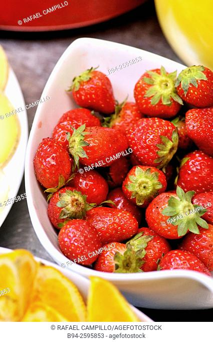 Strawberries at breakfast. Viscos, Hautes-Pyrenees department, South western France