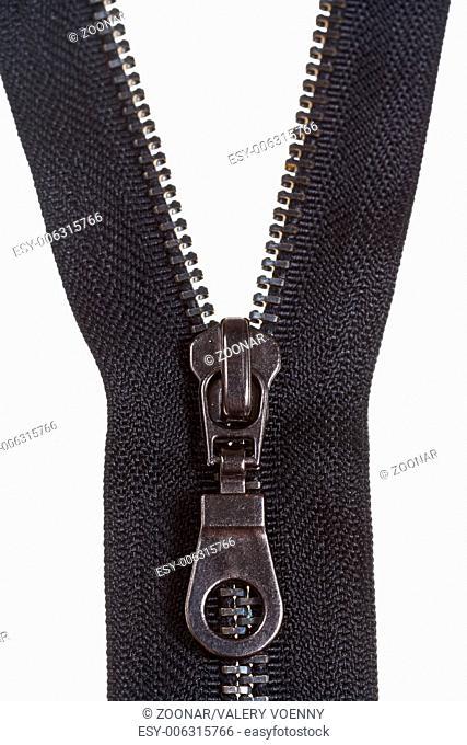 metallic black zip fastener close up