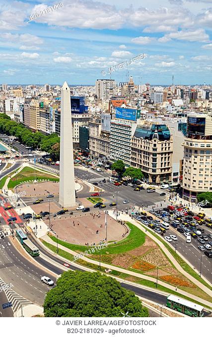 Obelisco. Avenida 9 de Julio. Buenos Aires. Argentina