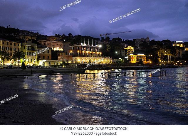 Santa Margherita Ligure beach at night, Genova, Liguria, Italy, Europe