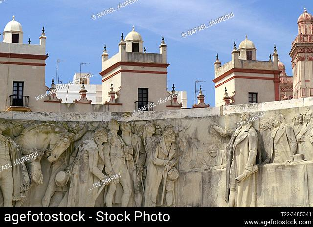 Cádiz (Spain). Detail of the relief in the Monument to the Constitution of 1812 in the city of Cádiz