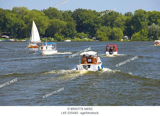 boats near Caputh at the Templiner See Havel, Brandenburg, Germany, Europe