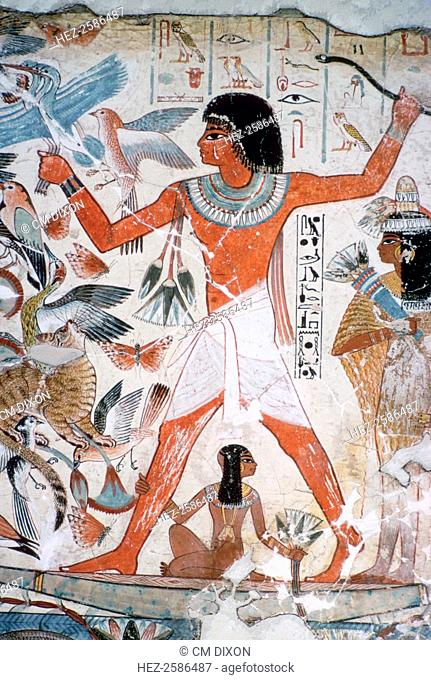 Fowling in the marshes: fragment of wall painting from the tomb of Nebamun (no. 10), Thebes, Egypt, 18th Dynasty, c1350 BC