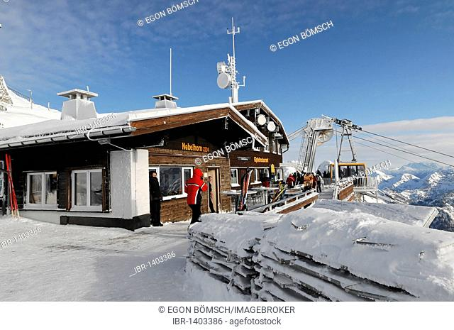 Summit restaurant, Nebelhorn, 2224m, Oberstdorf, Oberallgaeu district, Bavaria, Germany, Europe
