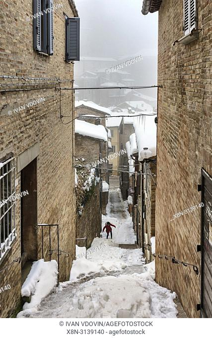 Street in old town, Urbino, Marche, Italy