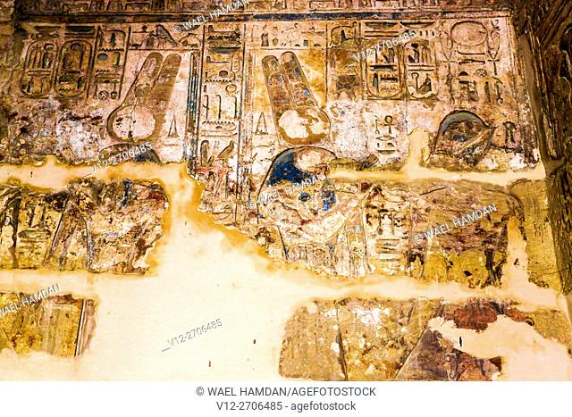 Ancient Thebes (UNESCO World Heritage List, 1979). Luxor. Karnak. Great Temple of Amon. Sanctuary of Sacred Boats. Painted reliefs, Egypt