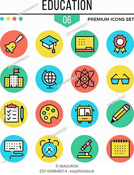 Education icons. Modern thin line icons set. Premium quality. Outline symbols, graphic elements, learning concepts, flat line icons for web design, mobile apps