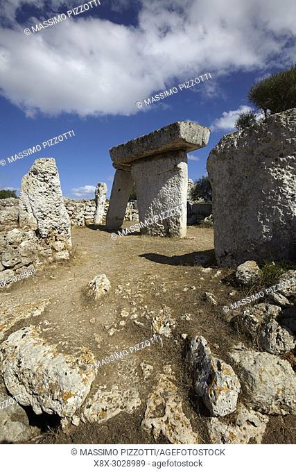 The megalithic monolith stones in the Talatí de Dalt settlement, Minorca, Balearic Islands, Spain
