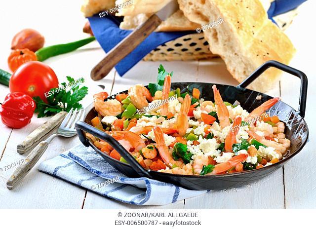 Greek food with shrimps