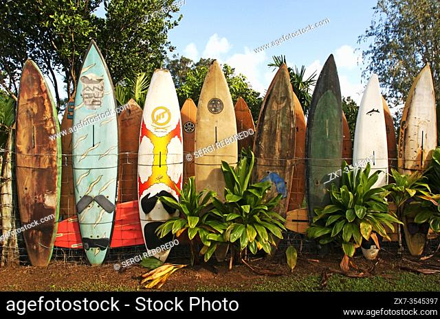 Surfboards decoration in a garden. Huelo. Hawaii. Huelo is a small community located along the Road to Hana (Hana Highway)