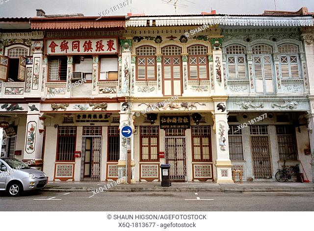 Traditional Peranakan, or Baba Nonya, style shophouses in Singapore in Southeast Asia Far East. Peranakan is a Malay word that refers to the descendants of the...