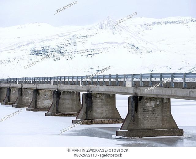 Bridge over the frozen river Hornafjardarfljot. europe, northern europe, iceland, February
