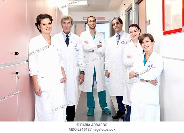 A medical team posing at the hospital. Rome (italy). 16th September 2014