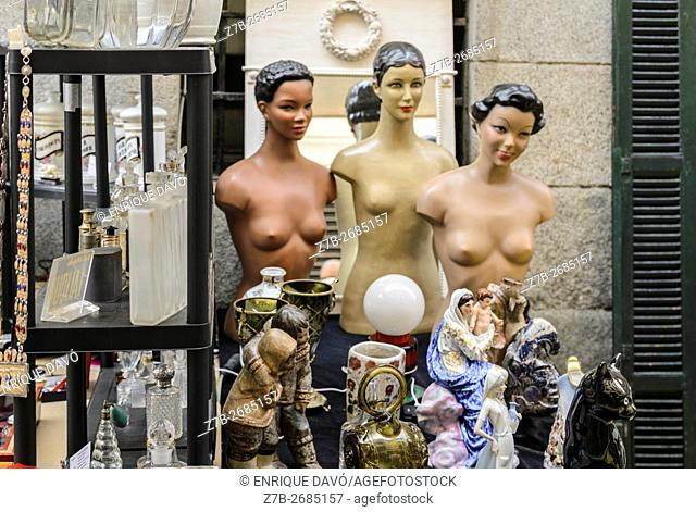 Madrid, Spain, 12 st June 2016. A wall street view with decoration items and models in DecorAccion Market, Letters Quarter, Madrid, Spain