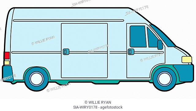 Side view of van
