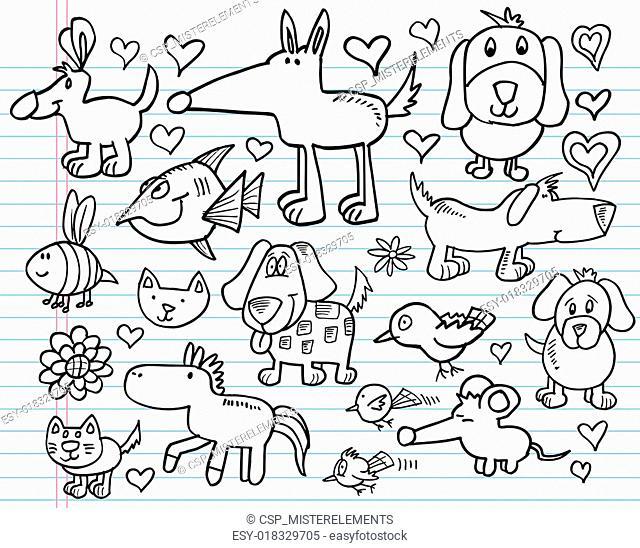 Notebook Doodle Sketch Animal set