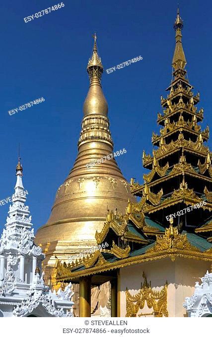 The Shwedagon Pagoda (officially titled Shwedagon Zedi Daw), a 99m (325ft) gilded pagoda and stupa in the city of Yangon in Myanmar (Burma)