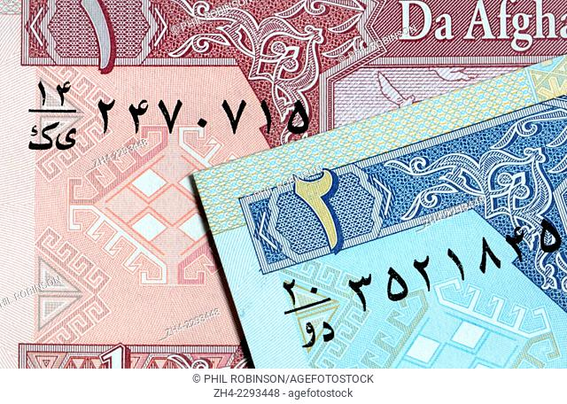 Detail from an Afghan banknote showing Arabic script and numerals