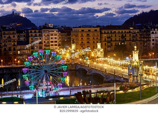 View of the city from Tabakalera, Maria Cristina Bridge, Ferris wheel, Christmas, Donostia, San Sebastian, Gipuzkoa, Basque Country, Spain, Europe