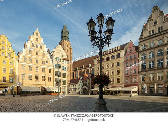 Autumn morning at old town square in Wroclaw, Lower Silesia, Poland