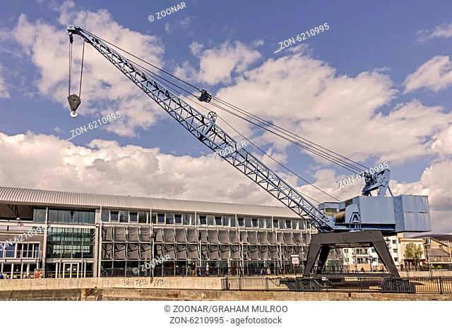 Large Quayside Crane Cardiff Bay Glamorgan UK