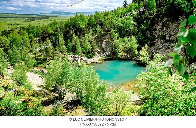 France, Auvergne-Rhones-Alpes, Haute-Loire, the Lac Bleu in Champclause