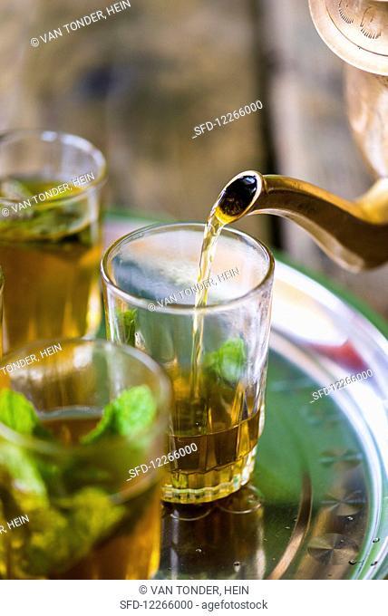 Peppermint tea in glasses (Morocco)