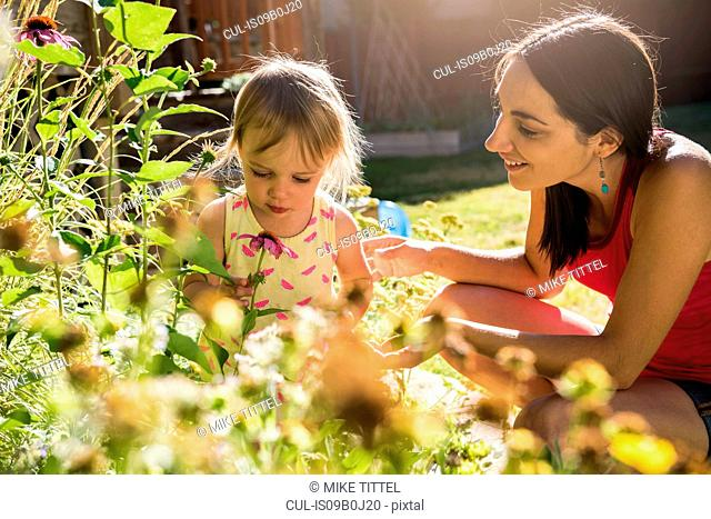 Mother and young daughter tending to garden