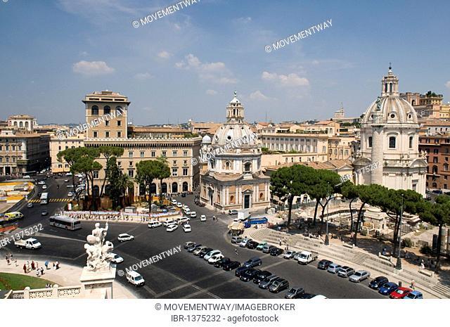 Piazza Campidoglio square with the Church of Santa Maria Di Loreto and Church Santissimo Nome Di Maria, Church of the Most Holy Name of Mary, Rome, Italy