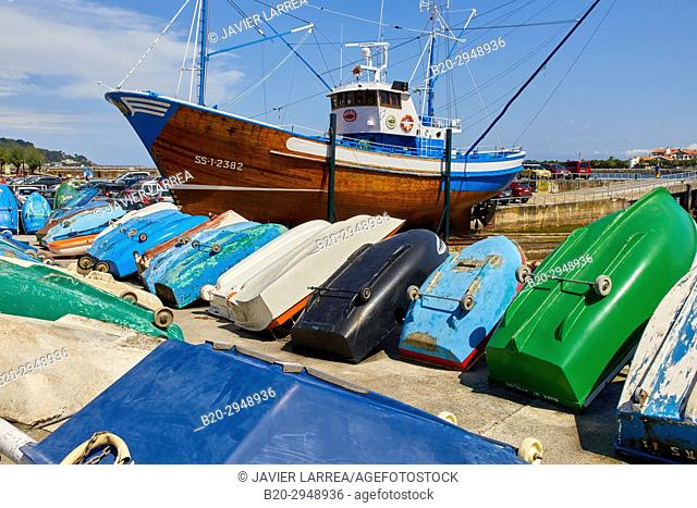 Marinel, Museum in old fishing boat, Hondarribia, Gipuzkoa, Basque Country, Spain, Europe