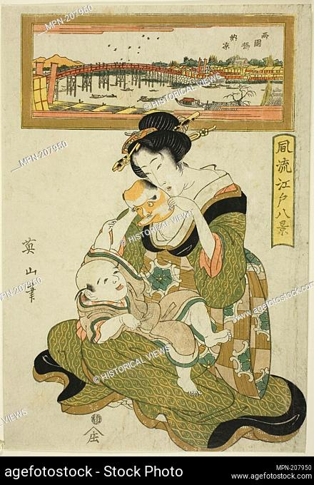 "Enjoying the Evening Cool at Ryogoku Bridge (Ryogokubashi noryo), from the series """"Fashionable Eight Views of Edo (Furyu Edo hakkei)"""" - early 19th century -..."