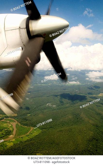 A view from an ATR 72 airlplane above the forests of North Thailand