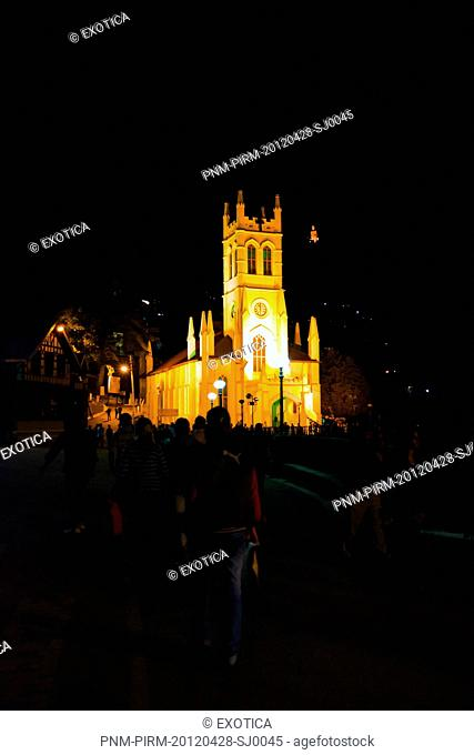Christ Church at night, Mall Road, Shimla, Himachal Pradesh, India