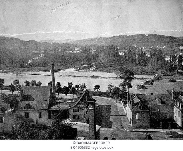 One of the first autotype photographs of the Pyrenees near Pau, France, circa 1880
