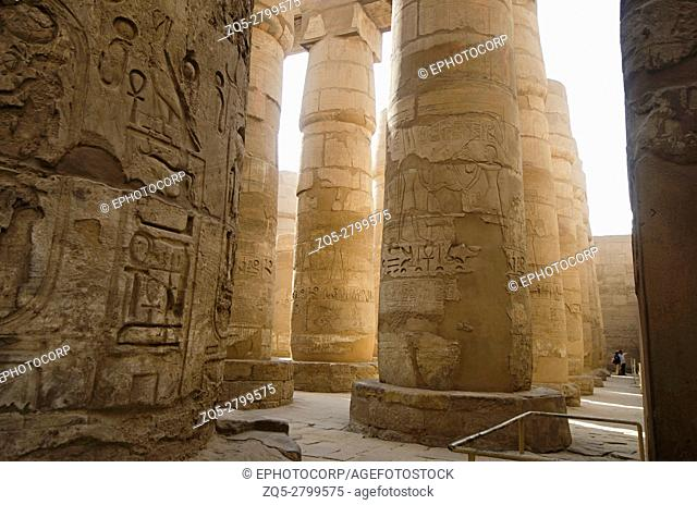 Carved pillars, Built in yellow limestone. View of the great hypostyle hall in the Precinct of Amon Re, Situated at Karnak Temple complex