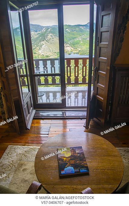 View from inside a room. Parador, Cervera de Pisuerga, Palencia province, Castilla Leon, Spain