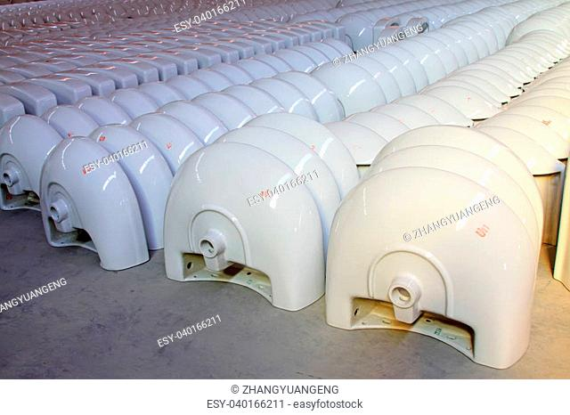 ceramic closestool products in a warehouse, in a factory