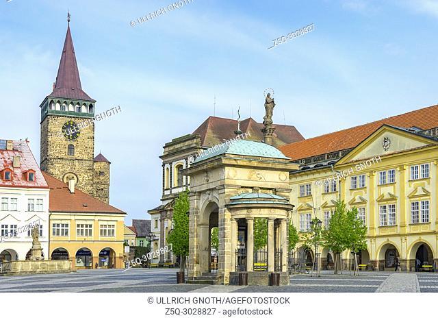 Jicin, Bohemian Paradise (Cesky Raj), Czech Republic - View across Wallenstein Square, the local town square, showing historic town houses, Valdice Gate