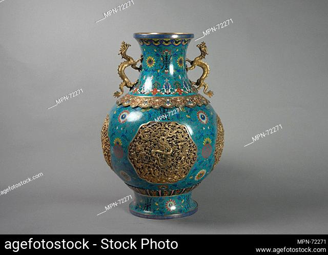 One of a Pair of Vases with Dragon Handles. Period: Qing dynasty (1644-1911); Date: 19th century; Culture: China; Medium: Cloisonné enamel with gilt bronze and...