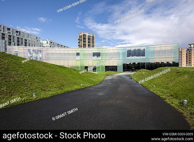General view of main elevation. Laban Dance Centre, Deptford, United Kingdom. Architect: Herzog + de Meuron, 2003