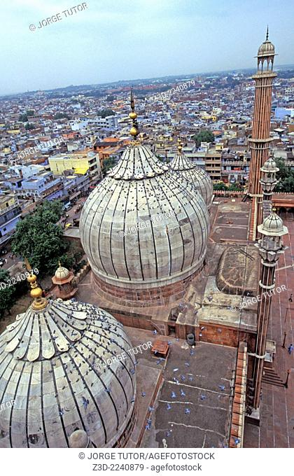 View from a minaret of The Masjid-i Jahan-Numa mosque, commonly known as the Jama Masjid in Old Delhi
