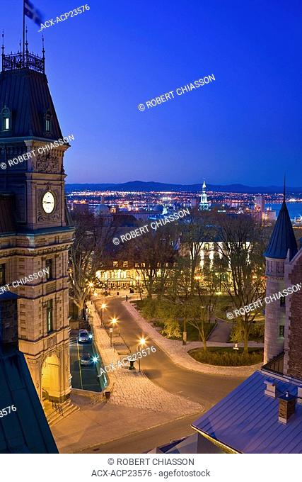 Night scene of Place d'Armes Park in front of Chateau Frontenac hotel and framed by Du Tresor, Saint-Louis and Place d'Armes streets