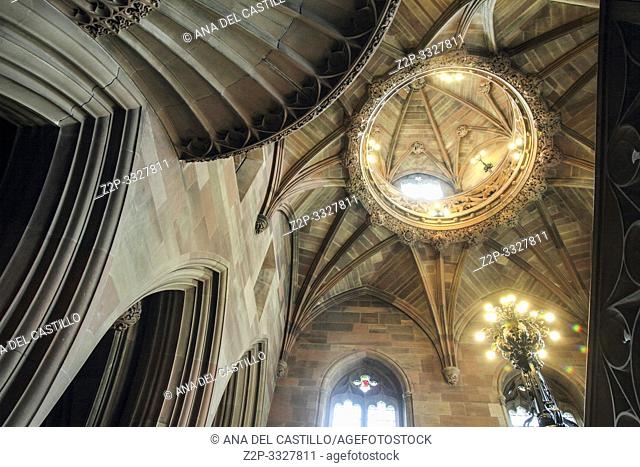 MANCHESTER UK-APRIL 19: The John Rylands library is a listed building in Manchester on April 19, 2014 in England UK